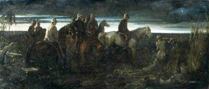 The Dawn of Victory (Lord Clyde Reconnoitring the Position of the Enemy, in Advance of the Relief of Lucknow). Thomas Jones Barker