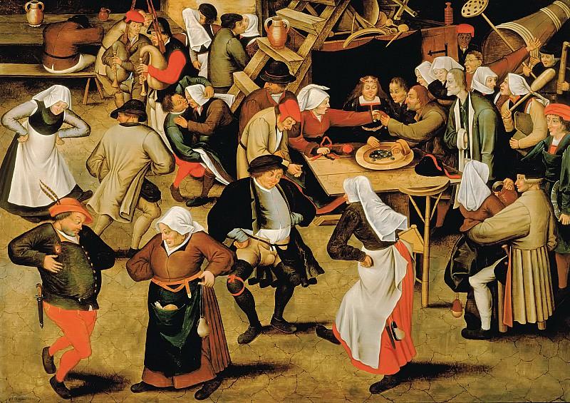 Wedding in barn. Pieter Brueghel the Younger