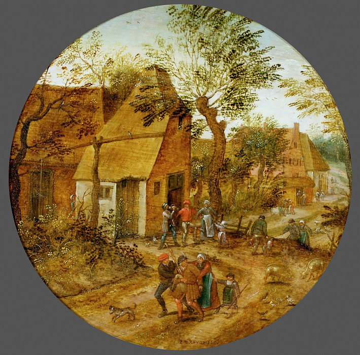 Village Street with Peasants. Pieter Brueghel the Younger