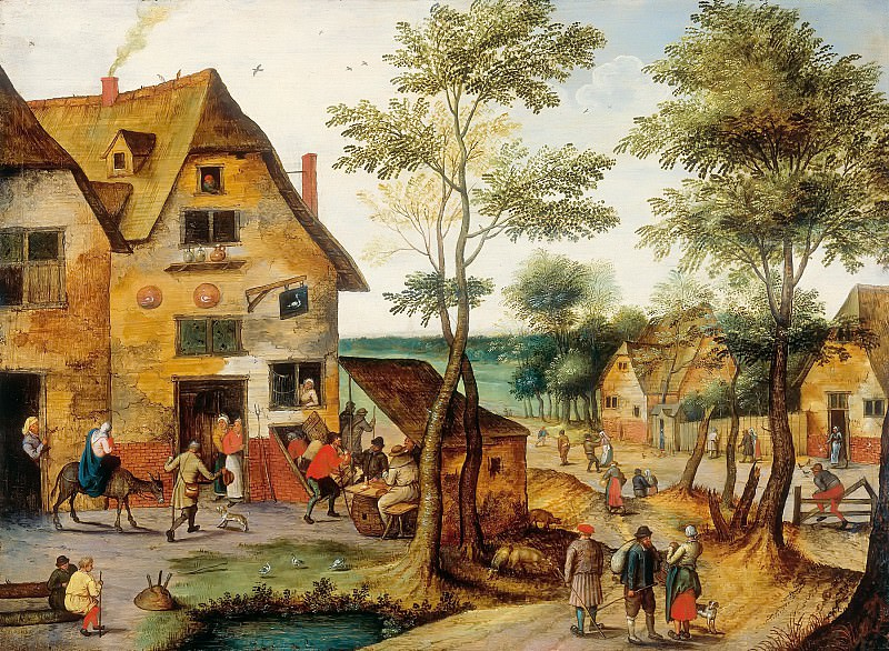 Landscape with the Holy Family at the tavern. Pieter Brueghel the Younger