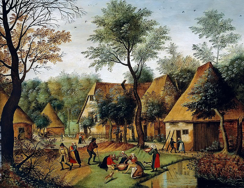 Rural landscape with peasants diners. Pieter Brueghel the Younger