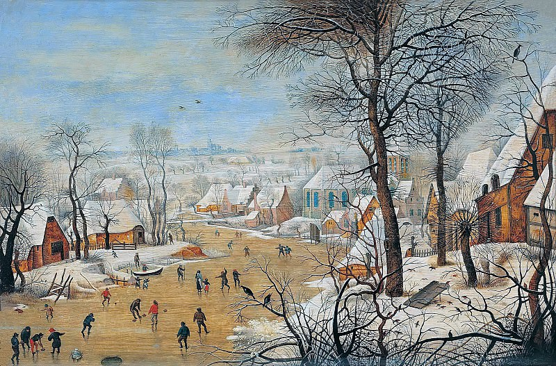 Winter landscape with a bird trap. Pieter Brueghel the Younger
