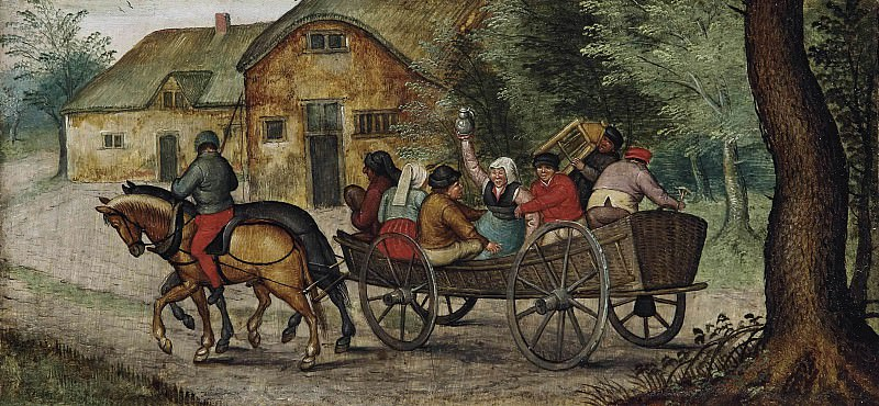 Peasants in an open wagon. Pieter Brueghel the Younger