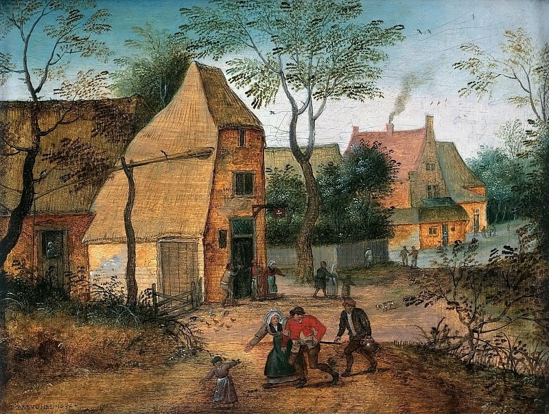 A Drunkard being taken Home from the Tavern by his Wife. Pieter Brueghel the Younger