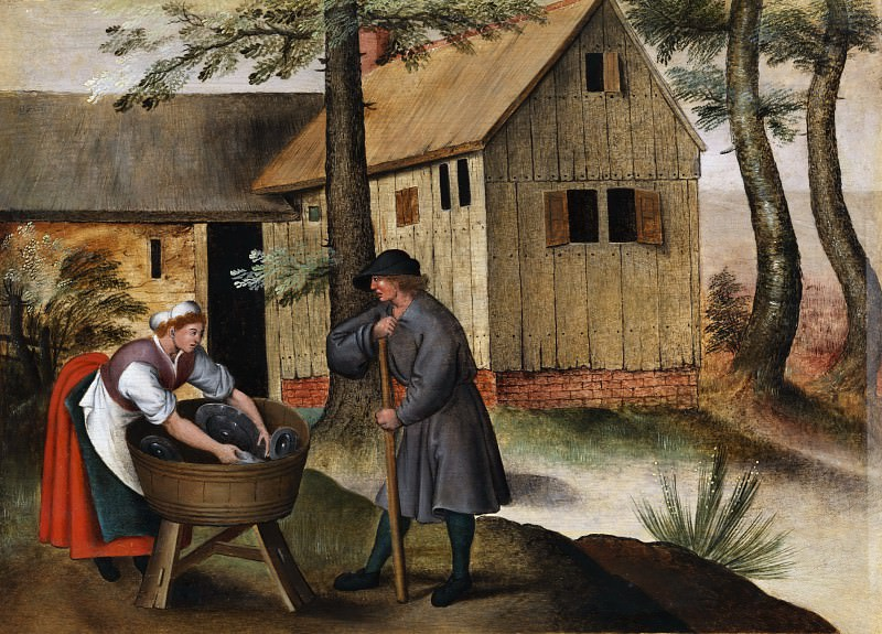 Geese Shepherd And Peasant Woman. Pieter Brueghel the Younger