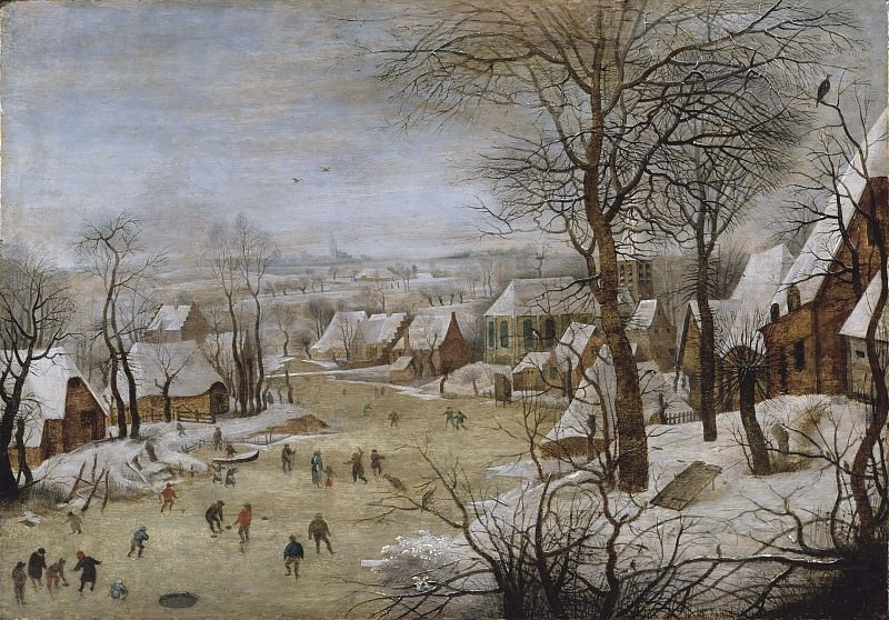 Winter Landscape with Skaters and a Bird Trap. Pieter Brueghel the Younger