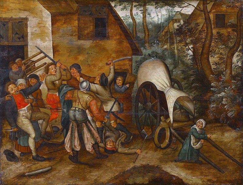 Brawl between peasants and soldiers. Pieter Brueghel the Younger