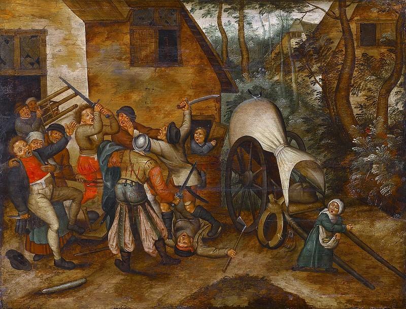 Драка между крестьянами и солдатами. Питер Брейгель Младший