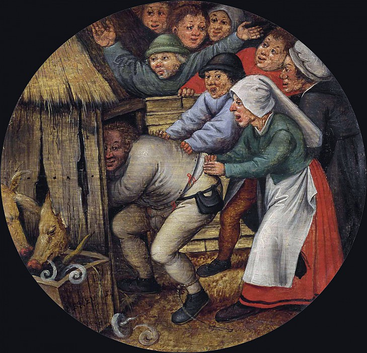 Flamish Proverbs - The Drunkard pushed into the Pigsty. Pieter Brueghel the Younger