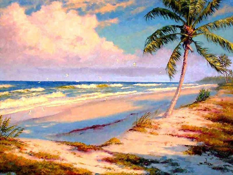 gentle breezes surf and sand. Albert Ernest Backus