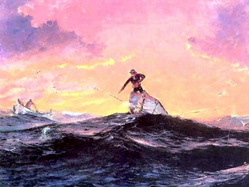 gentle breezes fisherman at dawn. Albert Ernest Backus