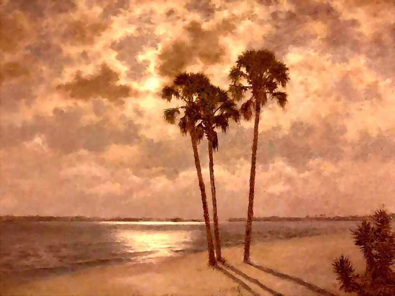 gentle breezes moonlight on cape coral beach. Albert Ernest Backus
