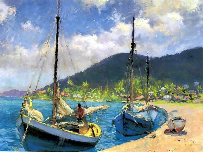 gentle breezes sailboats moored. Albert Ernest Backus