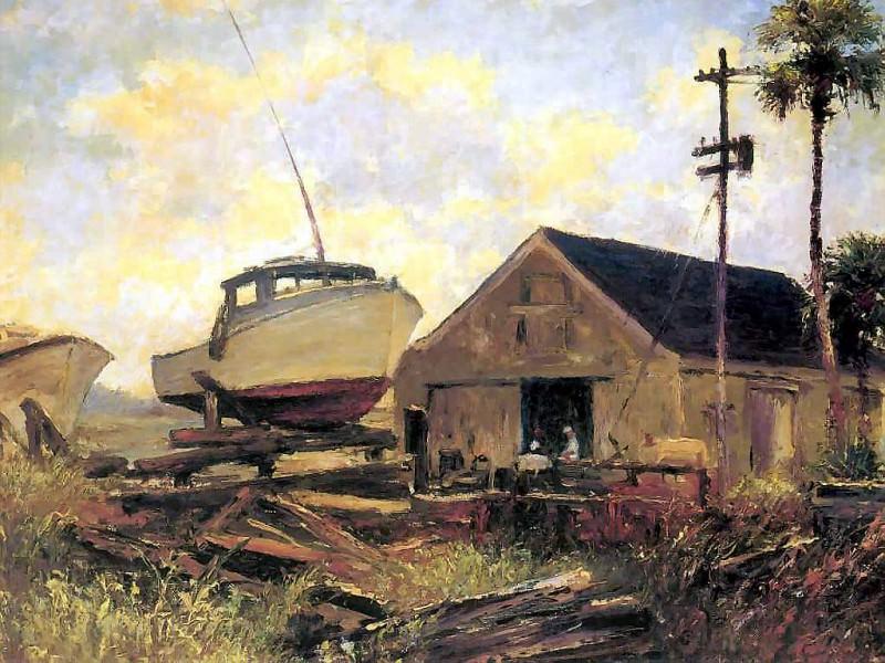 gentle breezes boat in dry dock. Albert Ernest Backus