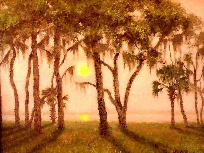 gentle breezes fog at lake yale. Albert Ernest Backus