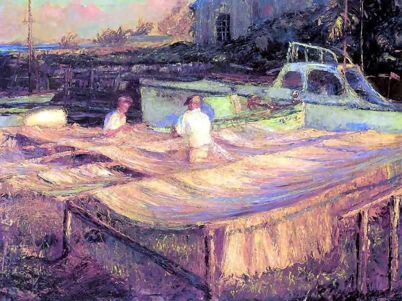 gentle breezes mending nets. Albert Ernest Backus