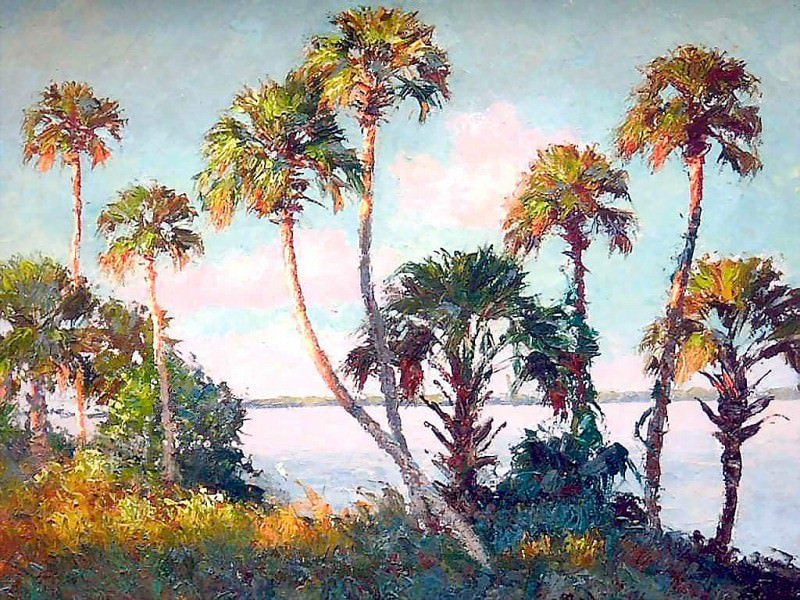 gentle breezes view through the palms. Albert Ernest Backus