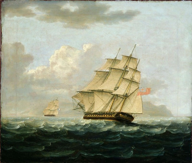 A British Frigate in Pursuit of a French Frigate. Thomas Buttersworth