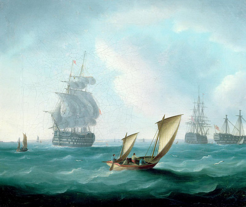 British Men-o-war and a Hulk in a Swell, a Sailing Boat in the Foreground. Thomas Buttersworth