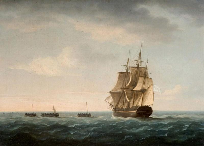"""Спасение экипажа корабля """"Гардьен"""" французским торговым судном 2 января 1790 года. Томас Баттерсворт"""