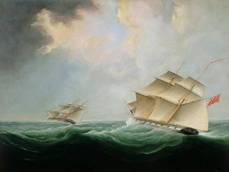 A Naval Brig Pursuing another Brig. Thomas Buttersworth