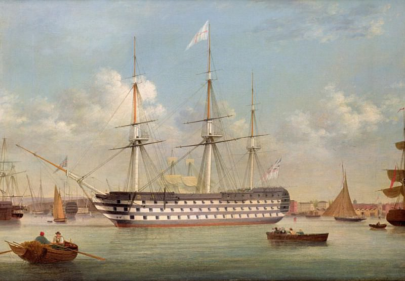 H.M.S. Britannia lying off Plymouth. Thomas Buttersworth