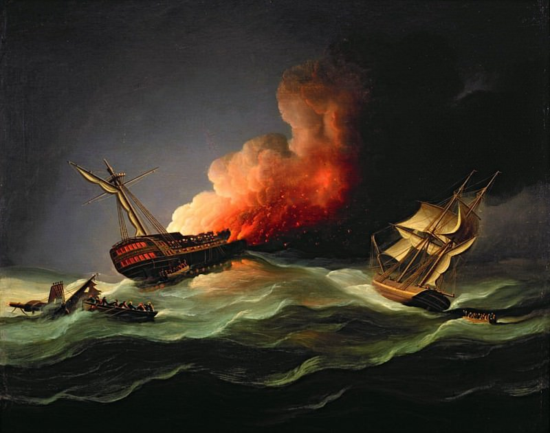 The East Indiaman Kent on Fire in the Bay of Biscay. Thomas Buttersworth