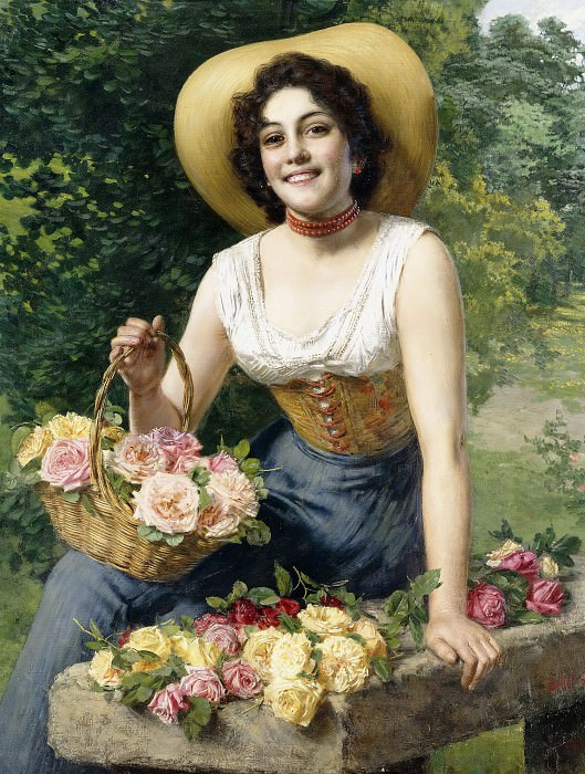 A beauty holding a basket of roses. Gaetano Bellei