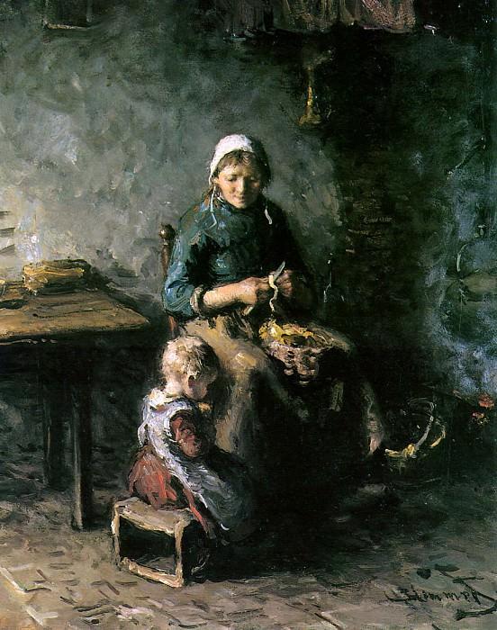 Pealing potatoes. Bernardus Blommers