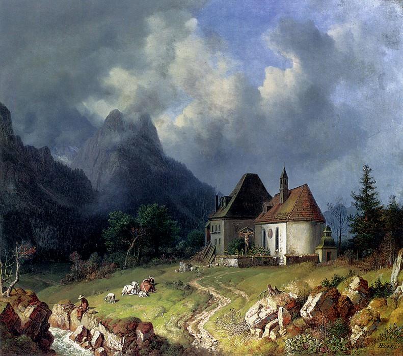 Das Kirchlein Von Hinterriss Im Hintergrund Das Wettersteingebirge. Heinrich Bürkel