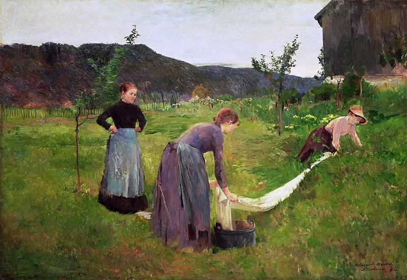 Три женщины - стирка (1880). Гарриет Бакер
