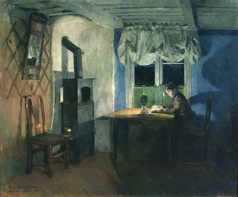При свете настольной лампы (1890). Гарриет Бакер