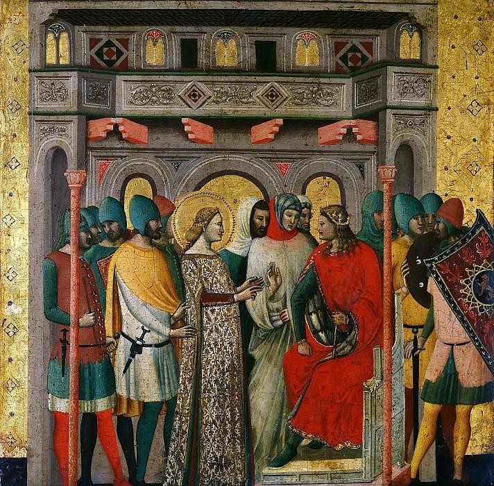 Scenes from the Life of Saint Columba of Sens - St Columba before Emperor Aurelian. Giovanni Baronzio