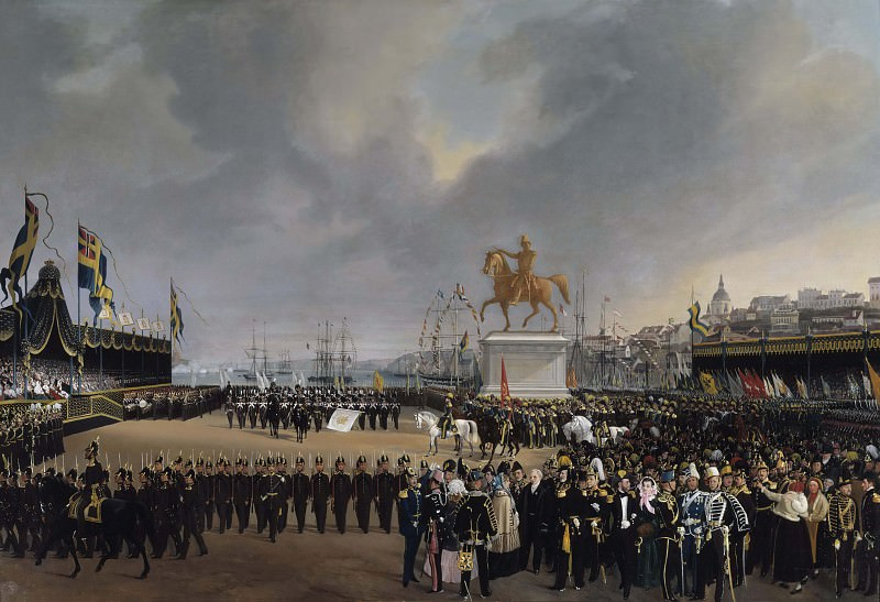 The Unveiling of the Equestrian Statue of Carl XIV Johan of Sweden in 1854. Carl Stefan Bennet