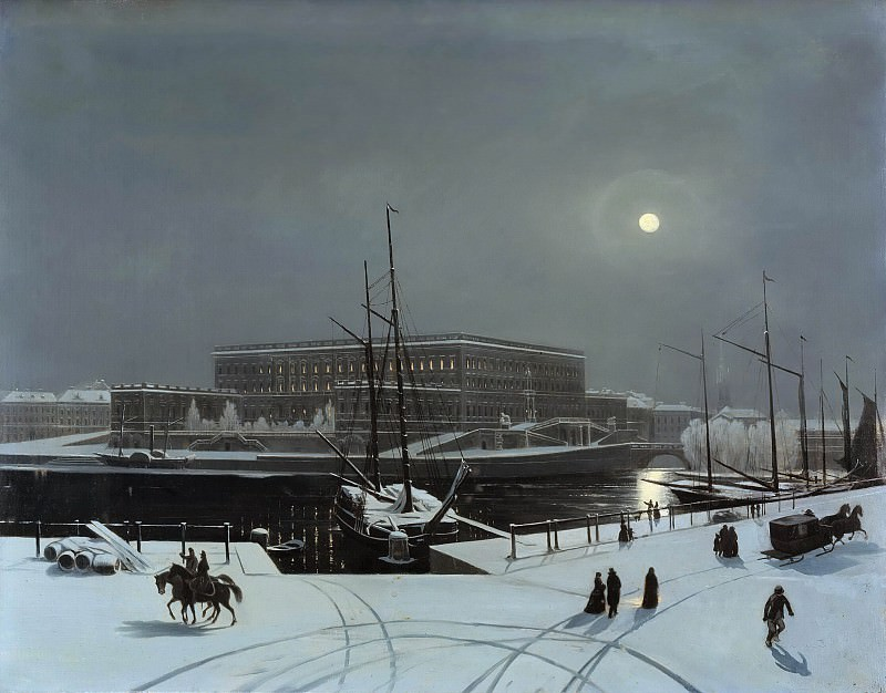 View of the Royal Palace of Stockholm. Winter. Carl Stefan Bennet