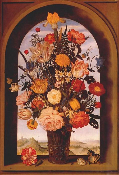 flower vase in window niche c1620. Ambrosius II Bosschaert