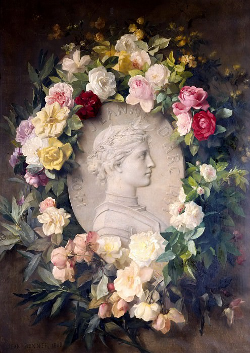 Joan of Arc, Relief Portrait with Flowers. Jean the Younger Benner