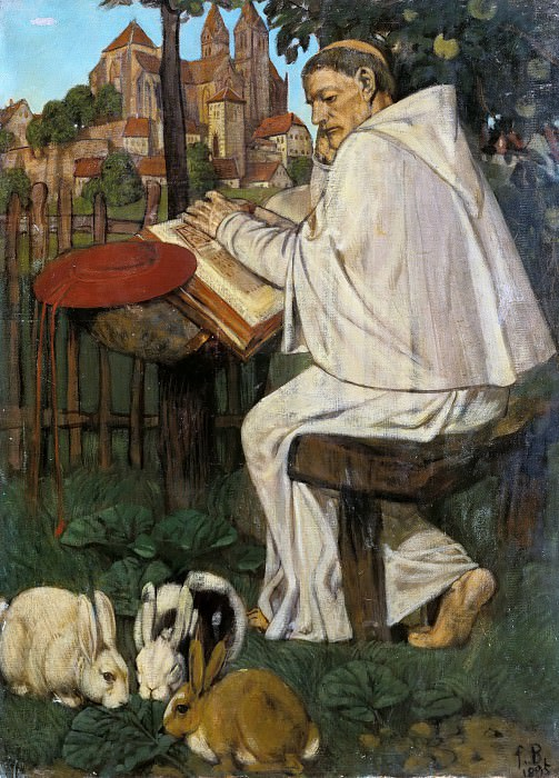 Reading monk. Fritz Boehle