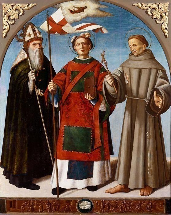Святой Стефан между святыми Бьяджо и Франческо д-Ассизи. Истории святого Стефана. Галеаццо делла Барба (Galeazzo Rivelli)