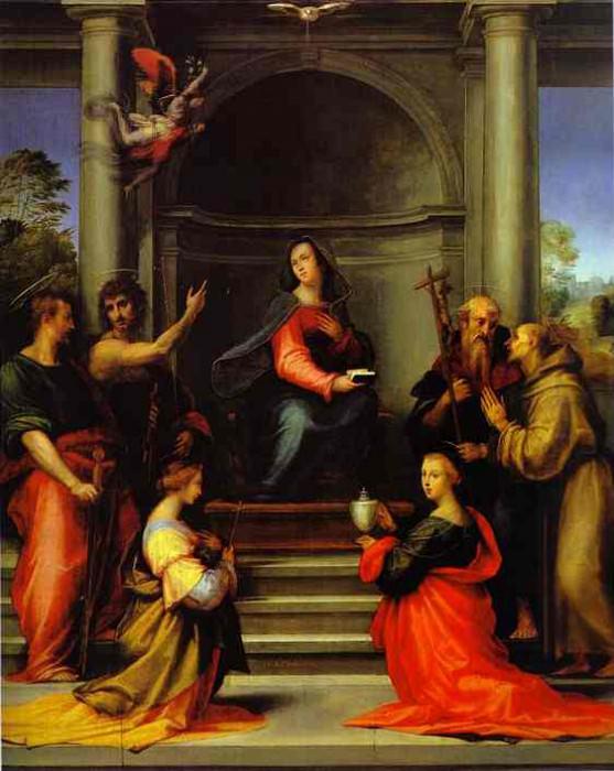 Благовещение со Св. Маргаритой, Марией Магдалиной, Павлом, Иоанном Крестителем, Иеронимом и Франциском. Фра Бартоломео (Баччо делла Порта)