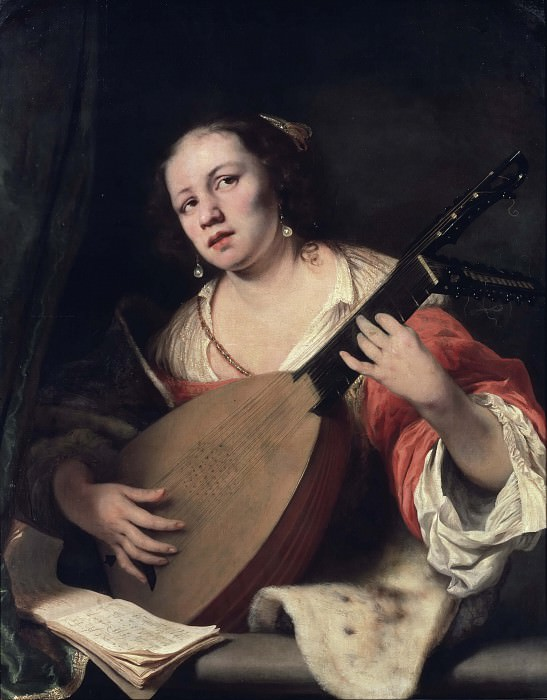 A Lady Playing the Lute. Ferdinand Bol