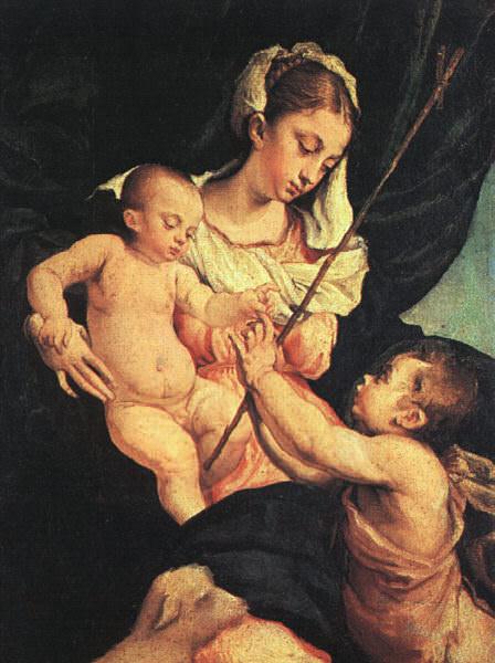 Мадонна с Младенцем и Св. Иоанн Креститель. Якопо Бассано