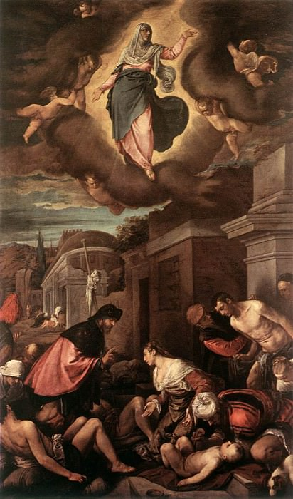 St Roche Among The Plague Victims And The Madonna In Glory. Jacopo Bassano