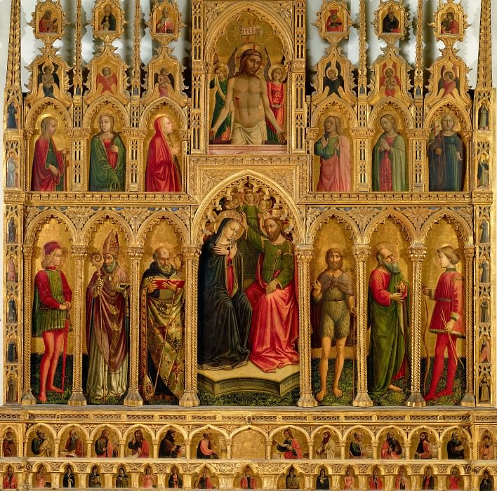 Montelparo Altarpiece - Coronation of the Virgin, Christ Taken Down from the Cross, and Saints. Niccolo (Niccolo da Foligno) Alunno