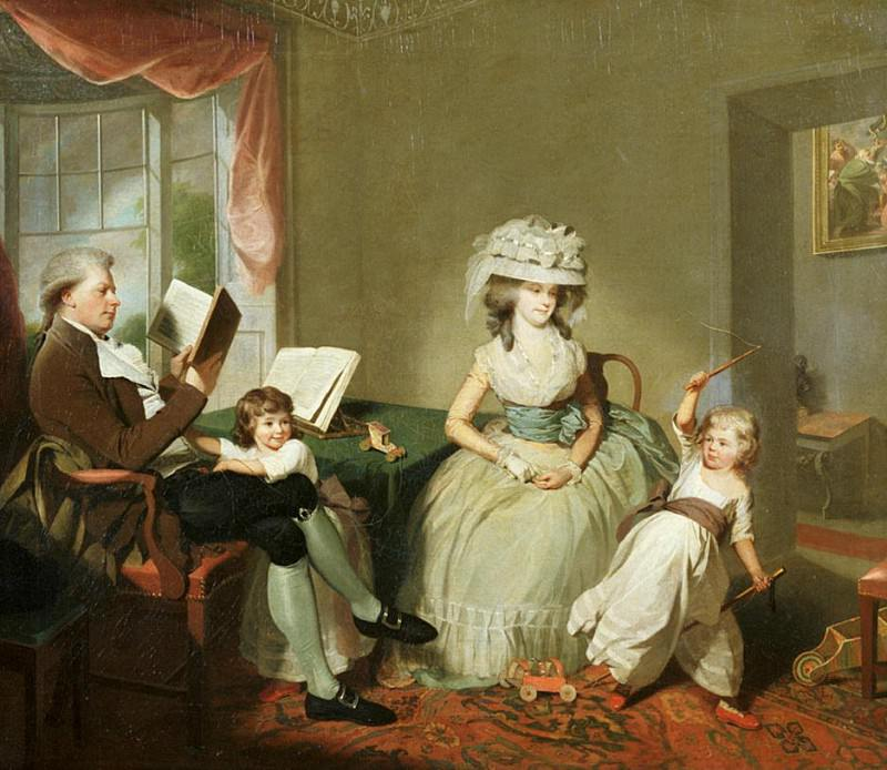 A group portrait of Mr. and Mrs. Hayward with their children, Mathilda and George. Sir Henry William Beechey