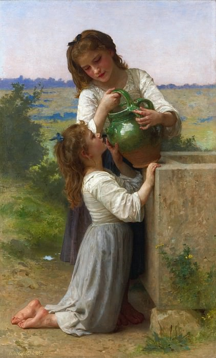 AT THE FOUNTAIN. Adolphe William Bouguereau