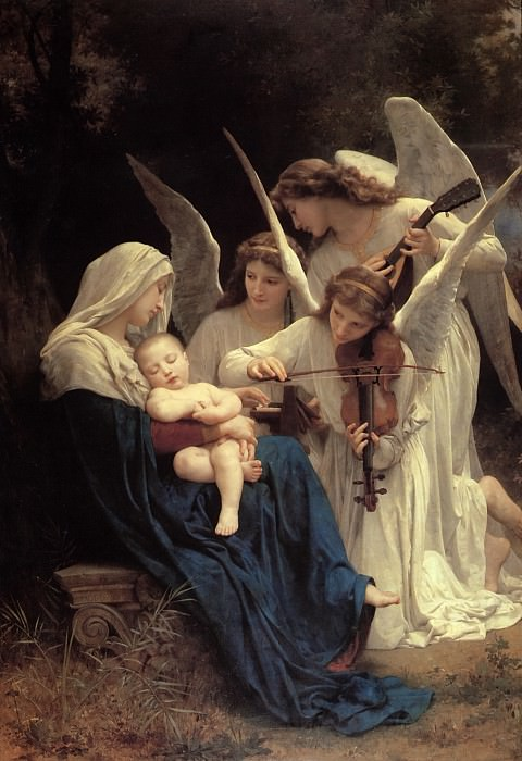 The Virgin with Angels playing music. Adolphe William Bouguereau