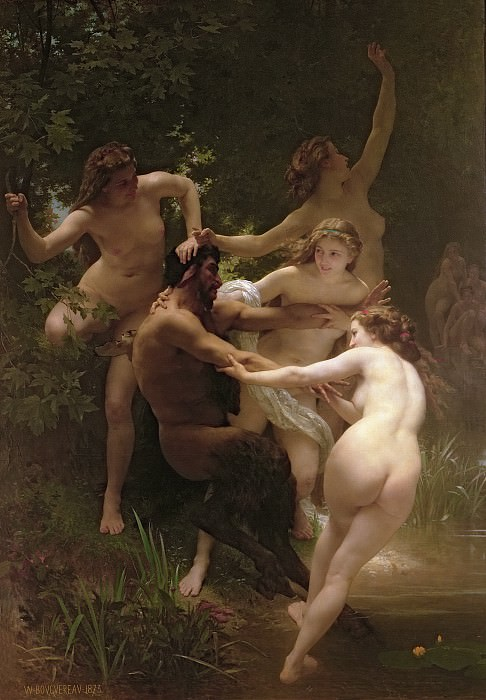 Nymphs and Satyr. Adolphe William Bouguereau