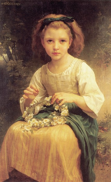 Child braiding a crown. Adolphe William Bouguereau
