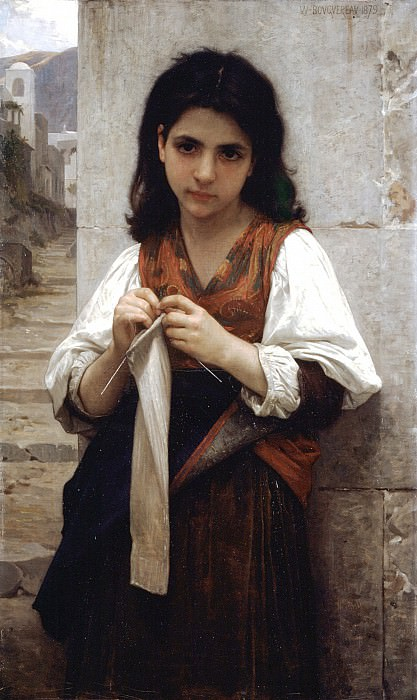 Knitter. Adolphe William Bouguereau